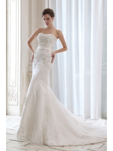 Best Wedding Dress Mermaid Beading and Appliques Strapless Court Train Satin