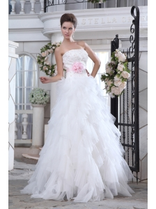 Brand New A-line Strapless Beading and Appliques Wedding Dress Brush Train Tulle