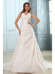 Brand New A-line V-neck Ruch and Appliques Plus Size Wedding Dress Court Train Taffeta