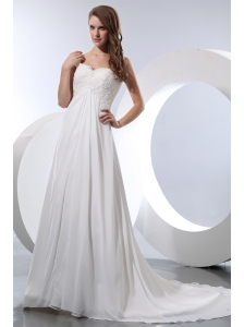 Elegant A-line Straps Beach Wedding Dress Court Train Chiffon Appliques