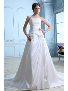 Elegant A-line Straps  Ruch and Appliques Low Cost Wedding Dress Chapel Train Taffeta
