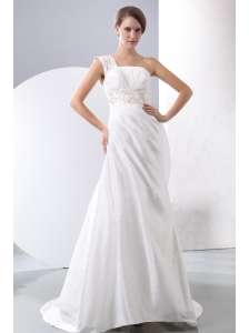 Elegant Column One Shoulder Court Train Taffeta Appliques With Beading Wedding Dress