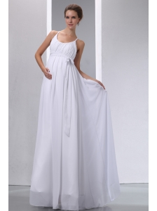 Elegant Empire Scoop Maternity Wedding Dress Chiffon Ruch Floor-length