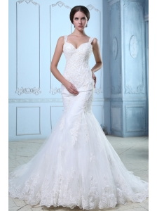 Elegant Mermaid Straps Lace Wedding Dress Court Train Organza