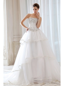 Exquisite Princess  Beading and Appliques Wedding Dress Strapless Court Train Tulle