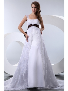 Fashionable A-line Straps Wedding Dress Satin and Lace Bow Beading Chapel Train
