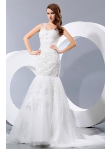 Fashionable Wedding Dress Mermaid Straps Court Train Lace