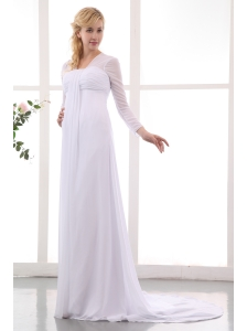 Formal Empire Square Maternity Wedding Dress Court Train Chiffon Ruch