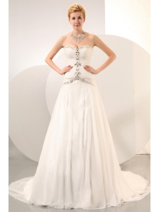 Formal Wedding Dress Beading A-line Sweetheart Chapel Train Organza