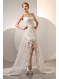 Lovely Column Sweetheart Beach Wedding Dress Court Train Organza and Taffeta Hand Made Flowers