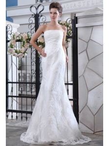 Lovely Mermaid Strapless Lace Wedding Dress Brush Train Satin