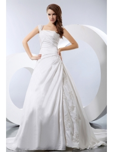 Luxurious A-line One Shoulder Low Cost Wedding Dress Chapel Train Taffeta Appliques and Ruch