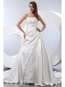 Luxurious A-line Strapless Chapel Train Satin Ruch Wedding Dress