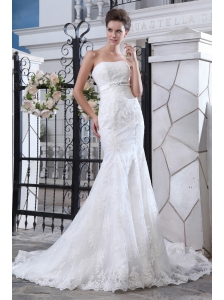 Luxurious Mermaid Strapless Court Train Tulle Lace and Belt Wedding Dress
