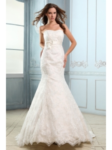 Luxurious Mermaid Strapless Belt Wedding Dress Court Train Lace