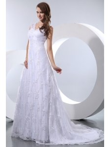 Luxurious Wedding Dress A-line V-neck Court Train Taffeta and Lace
