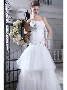 Perfect Mermaid One Shoulder Low Cost Wedding Dress Tulle Beading and Appliques Floor-length