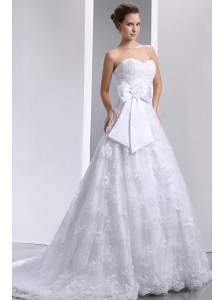 Popular A-line Sweetheart Hand Made Flower and Bow Wedding Dress Brush Train Taffeta and Lace