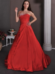 Popular Red Wedding Dress A-line One Shoulder Court Train Taffeta Appliques