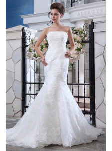 Popular Wedding Dress Belt Mermaid Strapless Court Train Lace