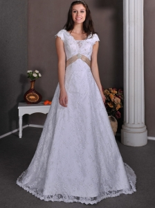 Pretty A-line V-neck Wedding Dress Taffeta and Lace Beading Court Train