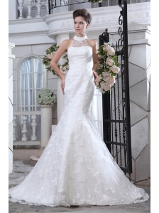 Pretty Mermaid Halter Wedding DressCourt Train Lace