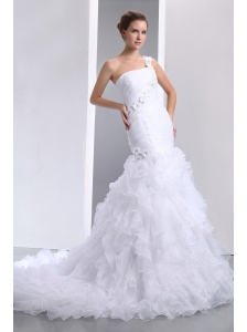 Romantic Mermaid One Shoulder Hand Made Flowers and Ruffles Wedding Dress Court Train Organza