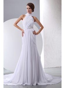 White Chiffon Dress on Simple White Strapless Column Beading Ruffle Satin Chiffon Court Train