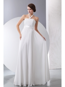 Simple Empire Halter Low Cost Wedding Dress Floor-length Chiffon