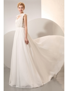 Simple Empire Square Ruch Plus Size Wedding Dress Court Train Chiffon