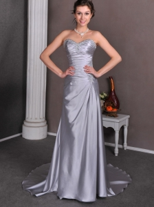 Silver A-line Sweetheart Low Cost Wedding Dress Court Train Elastic Wove Satin Beading and Ruch