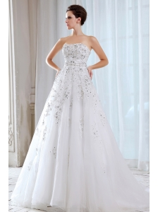 Sweet A-line Strapless Beading Wedding Dress Court Train Tulle