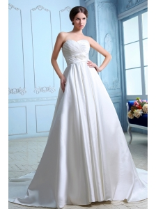 Unique A-line Sweetheart Ruch and Beading Low Cost Wedding Dress Court Train Satin