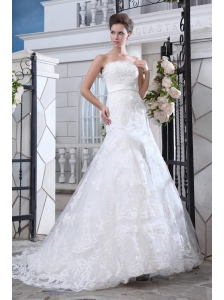 Unique Mermaid Strapless Belt Wedding Dress Court Train Lace
