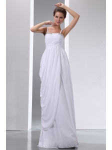 White Column Spaghetti Straps Maternity Wedding Dress Chiffon Beading and Ruch Floor-length