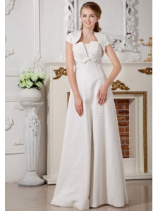 Affordable Empire Strapless Wedding Dress Special Fabric Belt Floor-length