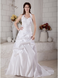 Amazing Wedding Dress A-line Halter Ruch Court Train Taffeta