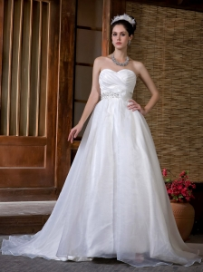 Beautiful A-line Wedding Dress Sweetheart Beading and Rcuh Sweep Train Taffeta and Organza