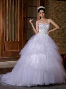 Beautiful Ball Gown Strapless Wedding Dress Chapel Train Taffeta and Organza Beading