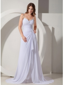 Beautiful Column / Sheath Straps Beach Wedding Dress Court Train Chiffon Beading