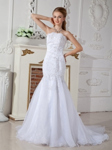 Beautiful Mermaid Strapless Wedding Dress Court Train Organza Appliques