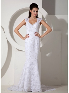 Brand New Mermaid V-neck Lace Wedding Dress Brush Train Beading