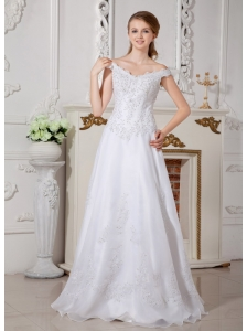 Brand New Wedding Dress A-line Off The Shoulder Appliques Floor-length Organza