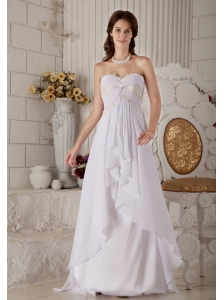 Brand New Wedding Dress Empire Sweetheart Appliques Brush Train Chiffon
