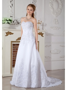 Cheap A-line Sweetheart Wedding Dress Court Train Satin Lace
