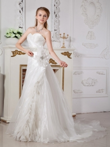 Classical A-line Sweetheart Wedding Dress Court Train Organza Beading