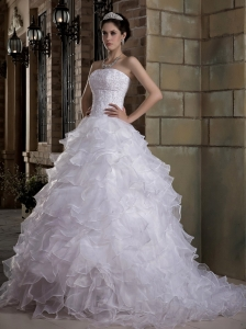 Custom Made A-line Strapless Wedding Dress Brush Train Taffeta and Organza Appliques and Ruffles