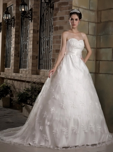 Custom Made A-line Sweetheart Wedding Dress Chapel Train Taffeta and Lace