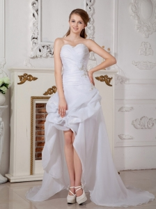 Custom Made Asymmetrical Beach Wedding Dress Sweetheart High-low Organza Appliques