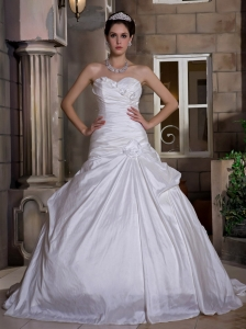 Custom Made Ball Gown Sweetheart Wedding Dress Court Train Taffeta Hand Made Flowers